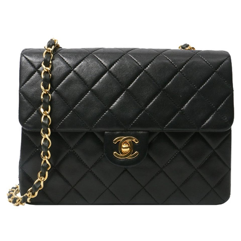 c621e1d5daa3 Chanel Vintage Quilted Square Flap Black Lambskin Leather Cross Body ...
