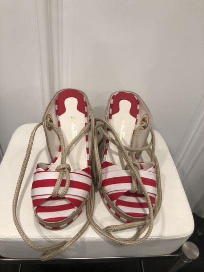 Salvatore Ferragamo Red and white Wedges
