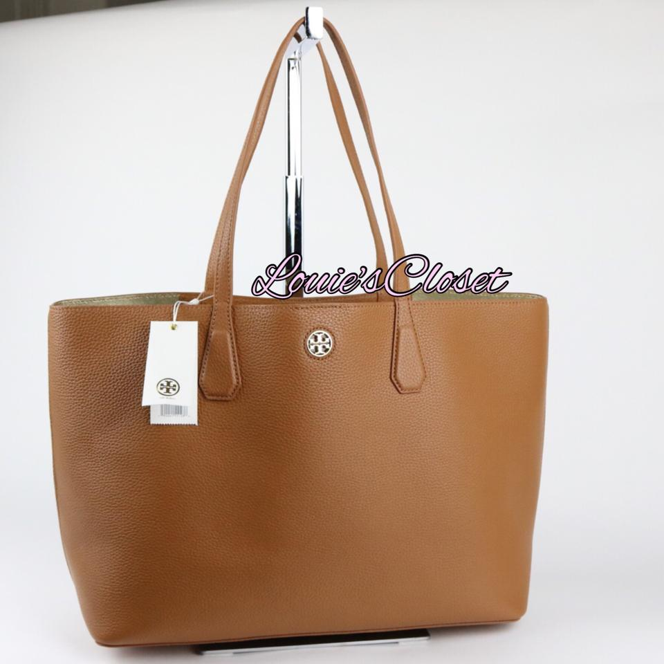 4c8f5e8b99a Tory Burch Tote in Bark / Light Gold Image 10. 1234567891011