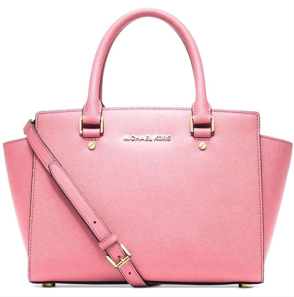 4a00d9c681a6 Michael Kors Selma Medium Top Zip (New with Tags) Misty Rose Pink  Gold  Hardware Saffiano Leather Satchel
