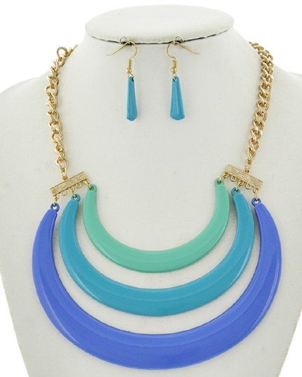 UNBRANDED Blue Epoxy Statement Necklace & Earrings