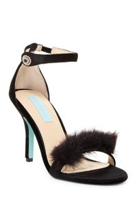 Betsey Johnson Faux Fur Heels Pumps Classic Party Black Sandals