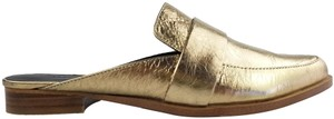 Rebecca Minkoff Loafer Suede Workwear Metallic Gold Mules