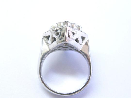 custom 18Kt Round Cut Diamond White Gold Square Bubble Ring 1.32Ct