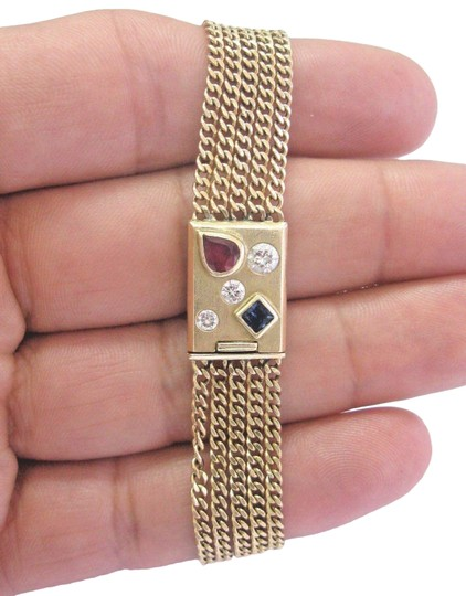 Preload https://img-static.tradesy.com/item/23296341/yellow-gold-fine-gem-ruby-sapphire-and-diamond-5-row-175ct-14k-bracelet-0-1-540-540.jpg