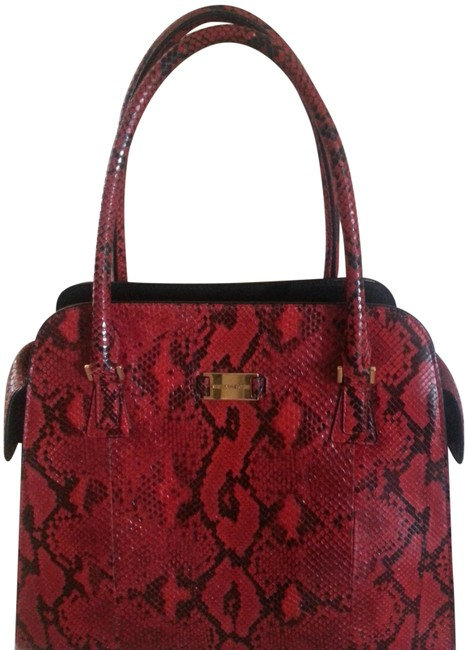 Item - Special Edition Red and Black Python Skin Leather Tote