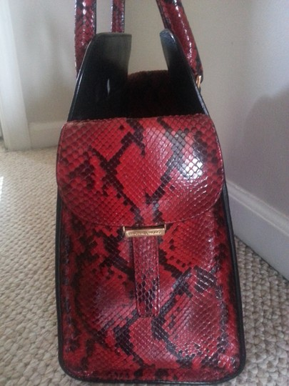 Michael Kors Collection Python Skin Leather Gold Accents Tote in Red and Black