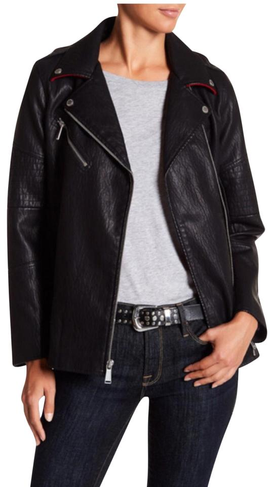 022db65e02ad BCBGeneration Black Long Faux Leather Asymmetrical Zip Moto Jacket. Size  4  ...