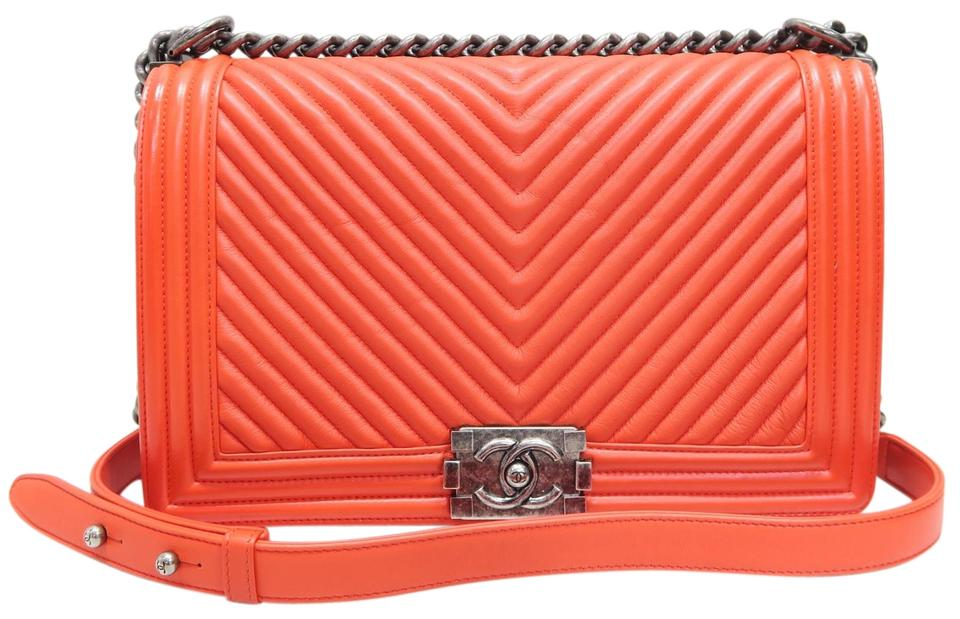 8820bf7278c4 Chanel Boy Medium Plus Chevron Orange Lambskin Leather Shoulder Bag ...