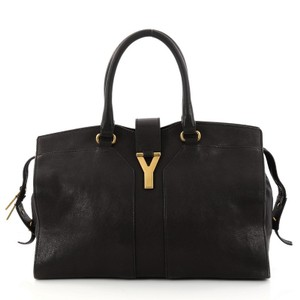 Saint Laurent Chyc Cabas Leather Tote in Black