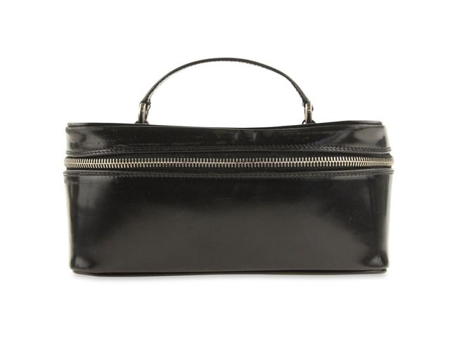 Item - Black Patent Leather Bamboo Cosmetic Bag