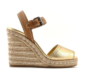 Prada Leather Ankle Strap Gold Wedges