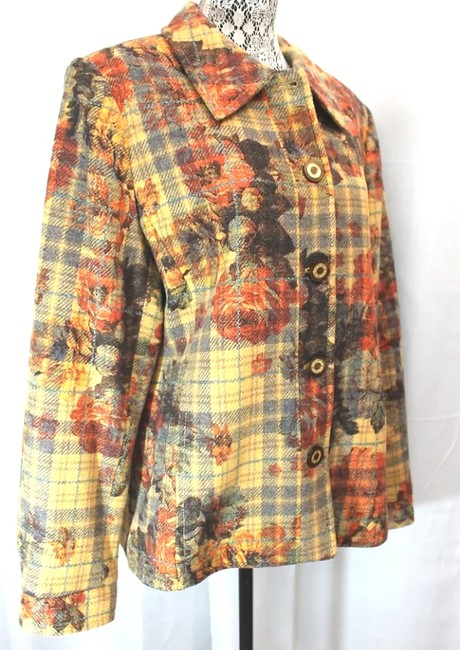 St. John Maple Button Down Jacket Xl YELLOW/BROWN Blazer