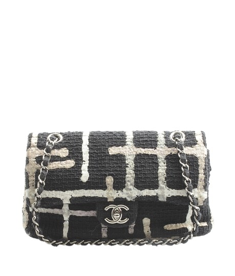 Preload https://img-static.tradesy.com/item/23296699/chanel-painted-tweed-medium-classic-double-148318-black-fabric-shoulder-bag-0-0-540-540.jpg