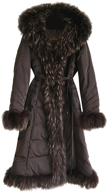 Item - Dark Chocolate Brown Hooded Down with Fur Trims Coat Size 6 (S)