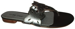 Jillian Jones Leather Thong Metallic Floral silver, pewter & bronze Sandals