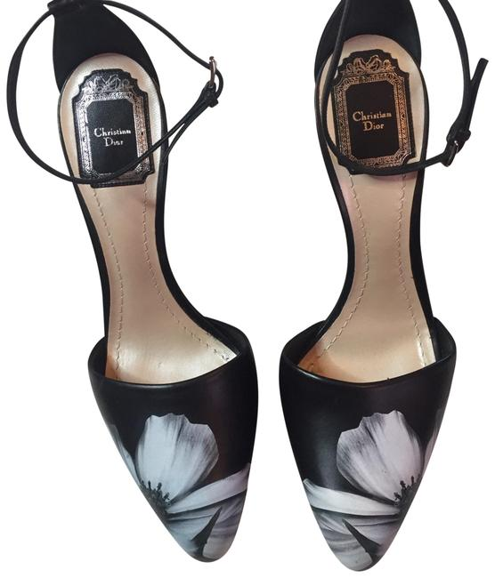 Item - Black Silver Gray Christian Floral Print Mirrored Leather Heel Wedges Size EU 39 (Approx. US 9) Narrow (Aa, N)