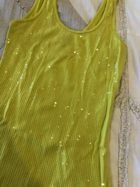 Express Sequin Sparkle Going Out Club Top Yellow