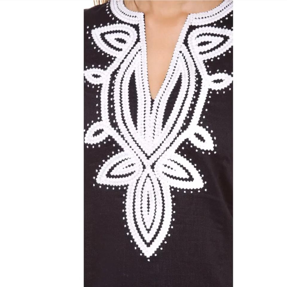 1f64effd2746 Tory Burch Navy Embroidered Odelia Tunic Cover-up Short Casual Dress ...