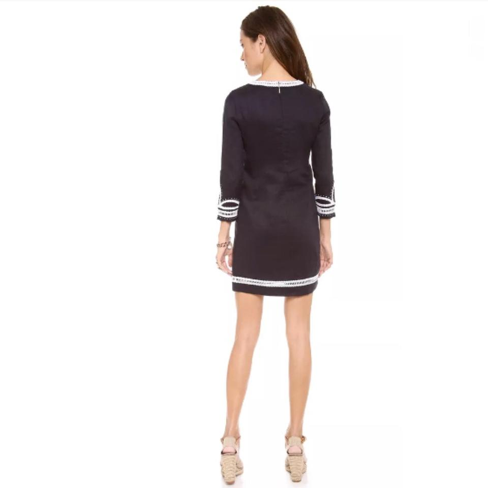 cff7298017a6 Tory Burch Navy Embroidered Odelia Tunic Cover-up Short Casual Dress ...