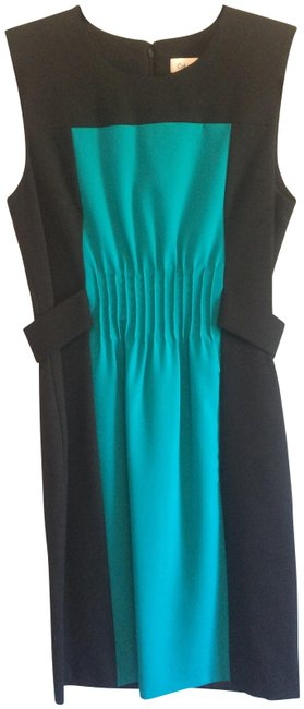Preload https://img-static.tradesy.com/item/23297209/calvin-klein-black-and-teal-mid-length-workoffice-dress-size-4-s-0-1-650-650.jpg