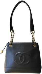 Chanel Vintage Caviar Leather Shopping Tote in Black