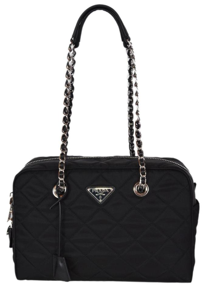 bd9c923337b9 Prada Black Quilted Nylon Chain Strap Shoulder Bag. Prada 1BG740 Quilted  Tessuto Impuntu ...