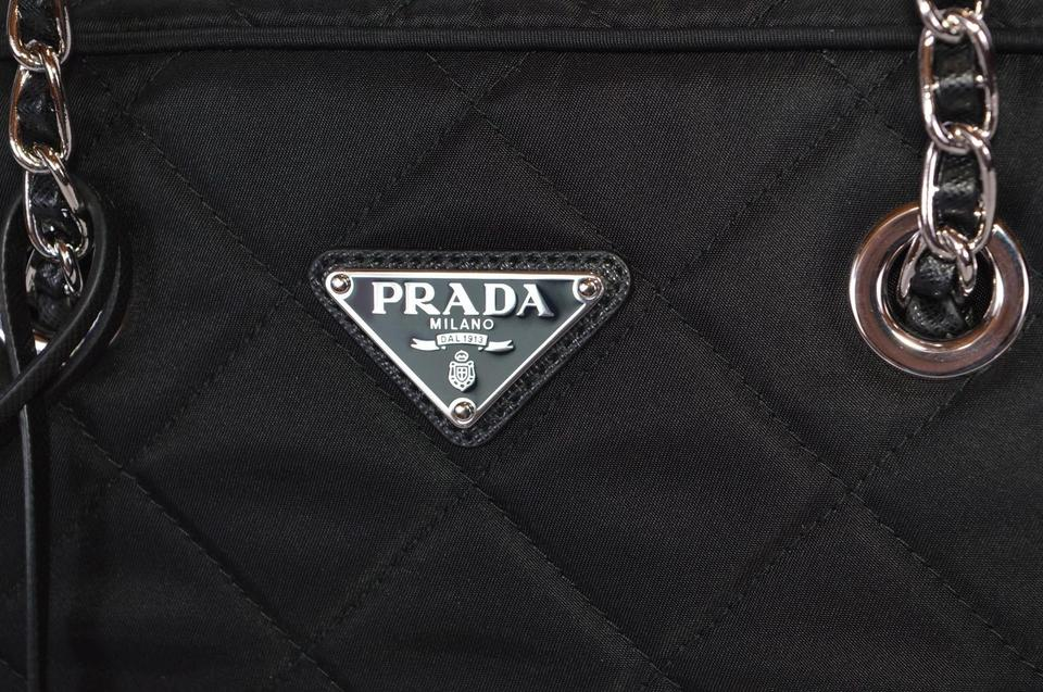 bb077ae7a87f Prada New Quilted Tessuto Impuntu Chain Strap Purse Black Nylon Shoulder Bag  - Tradesy