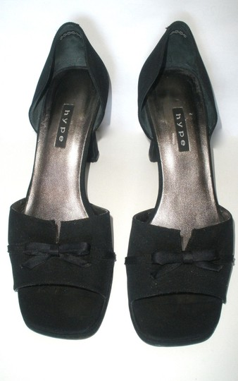 Hype Bow Peep Toe Open Toe Black Pumps