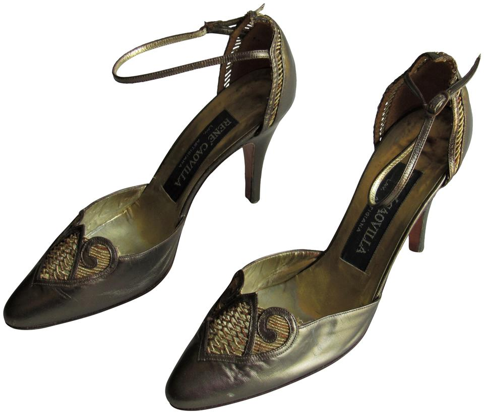 41567ef5158b6 Rene Caovilla Bronze & Gold Leather Accent Ankle-strap High Heels Pumps  Size US 7.5 Regular (M, B) 82% off retail