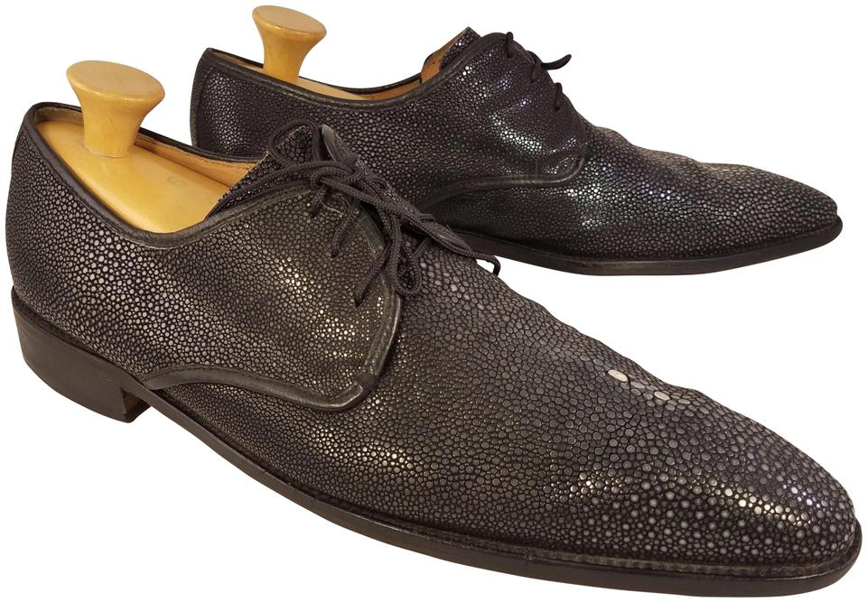 4541bec0fd Black and Gray Man Exotic Stingray Leather Oxfords Formal Shoes Size ...