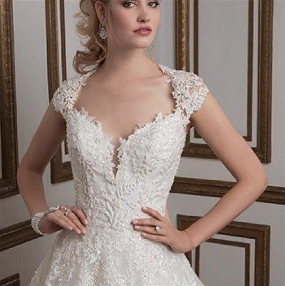 26ede852366 Justin Alexander Ivory Venise Lace Clear Crystals and Beads Tulle Skirt  with A Layer Of Sparkle Tulle 8807 Sexy Wedding Dress