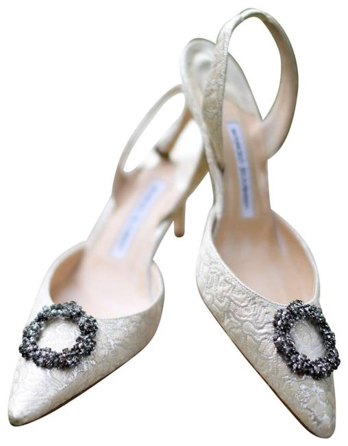Item - Ivory + Metallic Silver Brocade with Crystal Buckle Slingback Formal Shoes Size EU 39 (Approx. US 9) Regular (M, B)