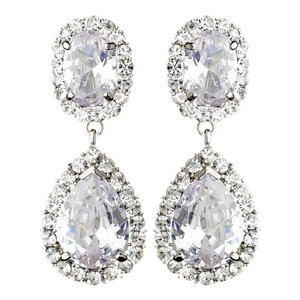 Elegance by Carbonneau Silver Cubic Zirconia Clip On Ravishing Clear Cz Earrings