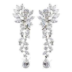 Elegance by Carbonneau Silver Cubic Zirconia Clip On Clear Tear Drop Marquise Cz Crystal Earrings