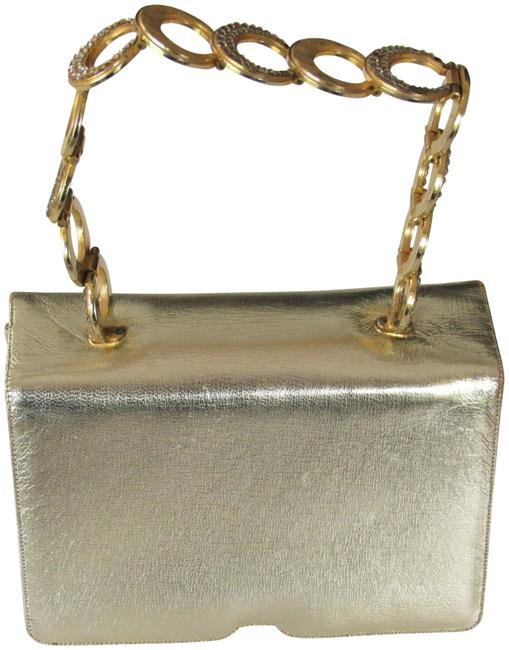 Item - 60's Chain Strap 3 Section Purse Champagne Gold Leather Baguette