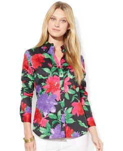 Lauren Ralph Lauren Floral Print Sateen Cotton Front Back Shaping Darts Seamed Back Yoke Button Down Shirt Multi-Color