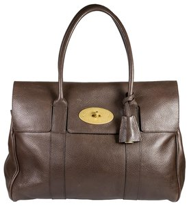 Mulberry Luxury Leather Gold Hardware Classic Tote in Dark Brown