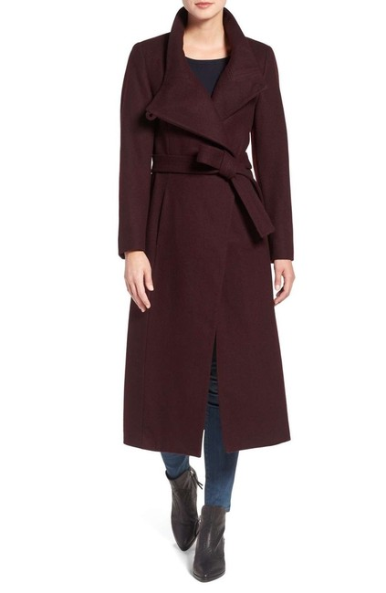 Item - Burgundy Belted Wool Blend Maxi Wrap Coat Size 14 (L)