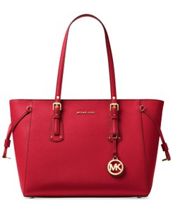 Michael Kors Voyager Large Zip-top Ultra Pink Crossgrain Leather Fits Ipad Tote in Bright Red