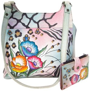 Anuschka Leather Hand Painted Unique Floral Shoulder Bag 78467799f71ff