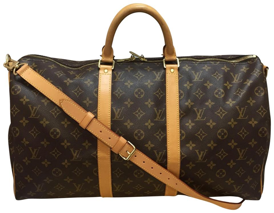 3f621df6bf1e Louis Vuitton Keepall 50 Bandouliere Brown Monogram Canvas Weekend Travel  Bag