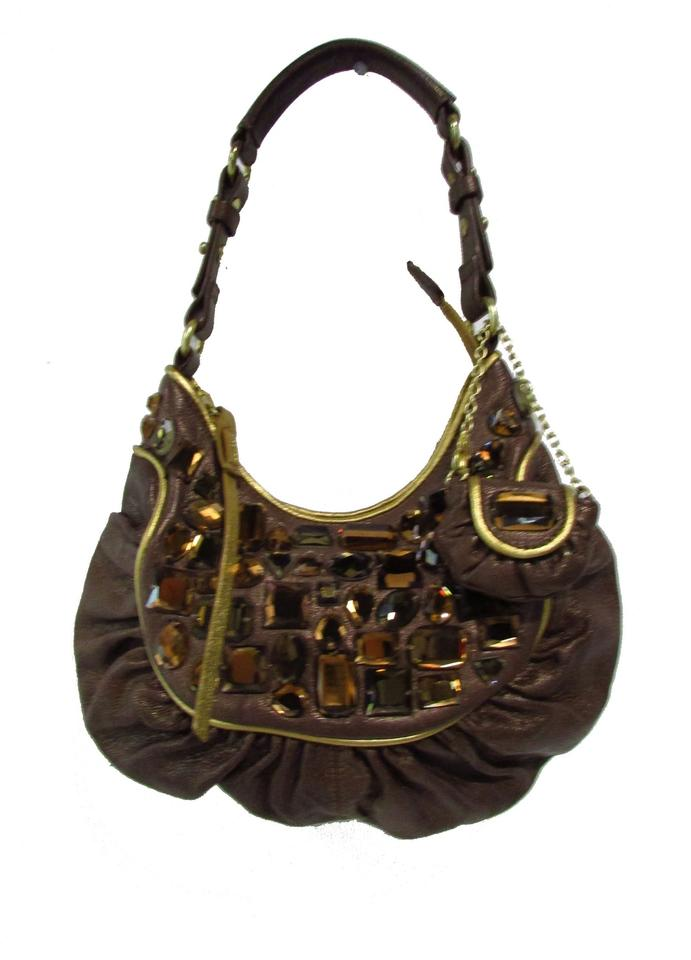 39f49404937 Cole Haan G Series Small Jeweled Bronze/Brown Leather Shoulder Bag ...