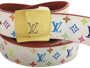 Louis Vuitton Louis Vuitton White Belt Multicolor LV Monogram 5917