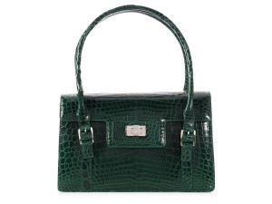 Lambertson Truex Crocodile Structured Lt.p0312.01 Silver Hardware Satchel in Green