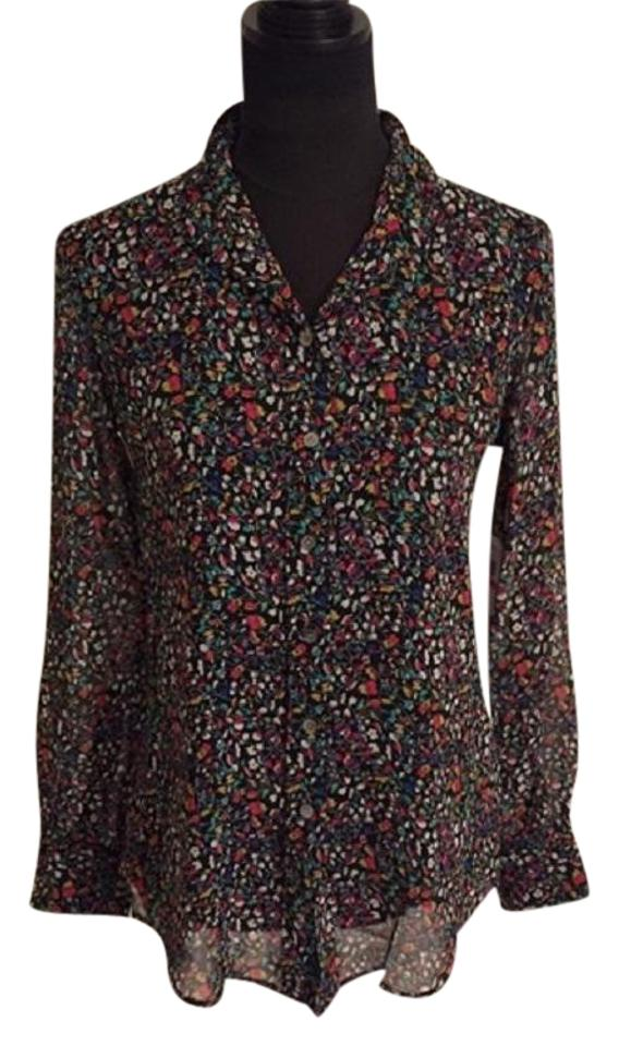 7dc4d875fa291e Vince Camuto Black / Floral Two By Chiffon Hi-lo Shirt - Small Button-down  Top