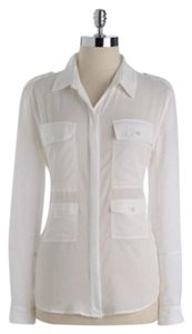 Vince Camuto Epelates Pockets Blouse Button Down Shirt Ivory