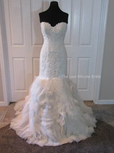 Maggie Sottero Lt Gold Lace Paulina 5ms162 Feminine Wedding Dress Size 6 (S)