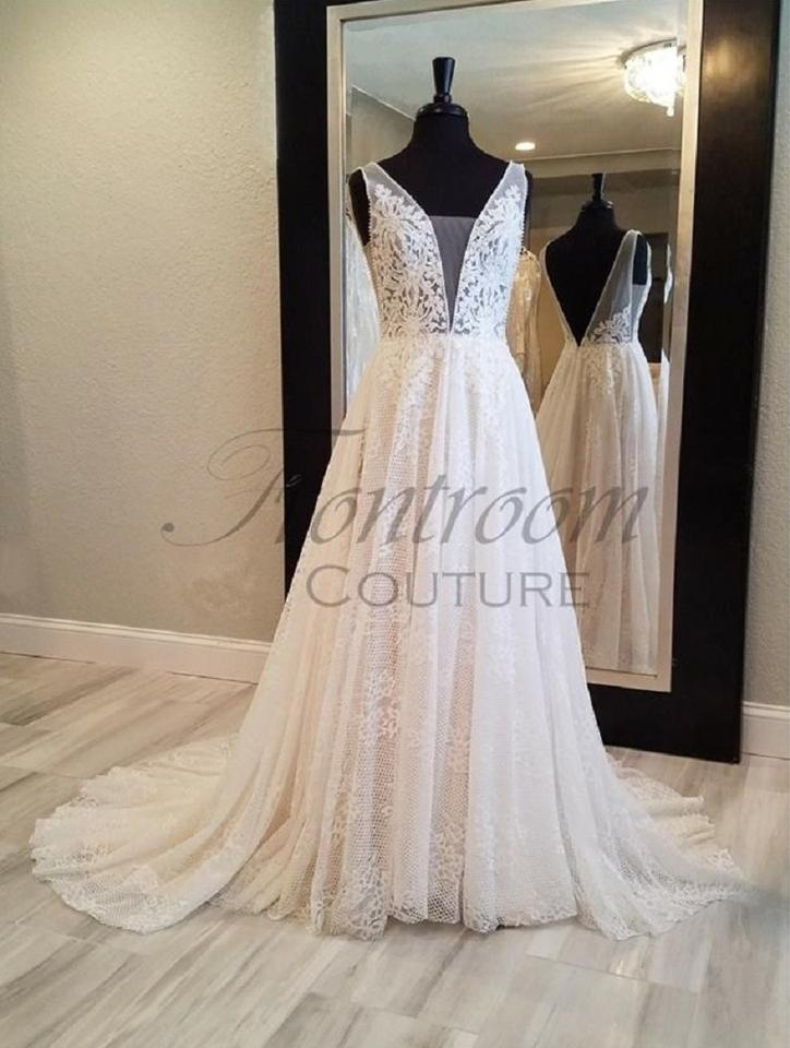00aa9c8bd White/White Ivory/Ivory White/Champagne Ivory/Champagne Lace Alessandra-  A-line Deep V-neck Gown Sexy Wedding Dress