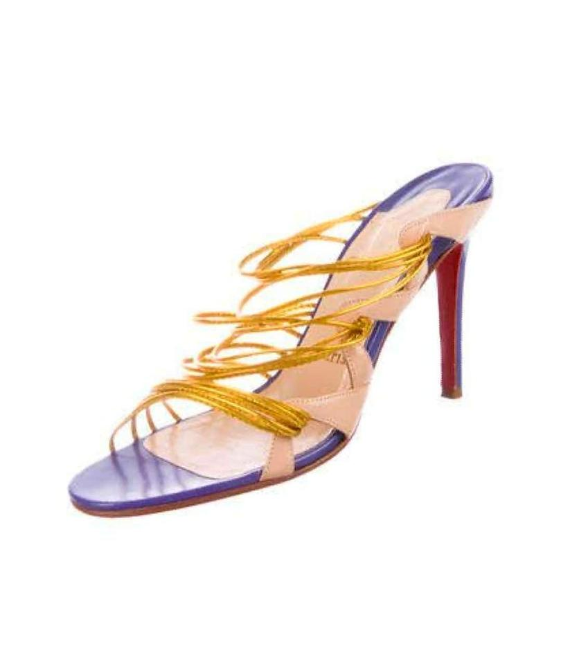 1fa4f64cf60 Christian Louboutin Lavender and Gold Leather Multistrap Sandals Size US 8  Regular (M, B) 55% off retail